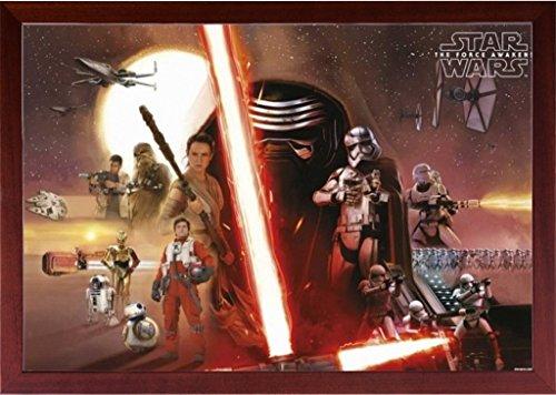 Brown Framed Star Wars The Force Awakens Movie Poster Horizontal in Basic Detailed Grain