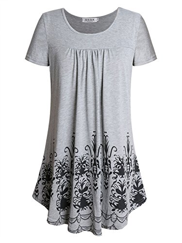 DSUK Plus Size Tunics for Women, Womens Short Sleeve Crew Neck Tunic Shirt Cool Summer Casual Wear Flared A Line Swing Knitted Tee Cute Flow Designer Retro Printed Blouse Gray XX-Large (Designer Retro Clothing)