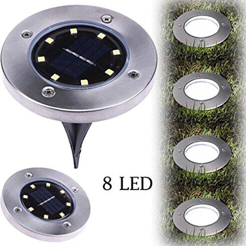 VIASA 8 LED Solar Power Buried Light Ground Lamp Outdoor Path Way Garden Decking (Cool White)