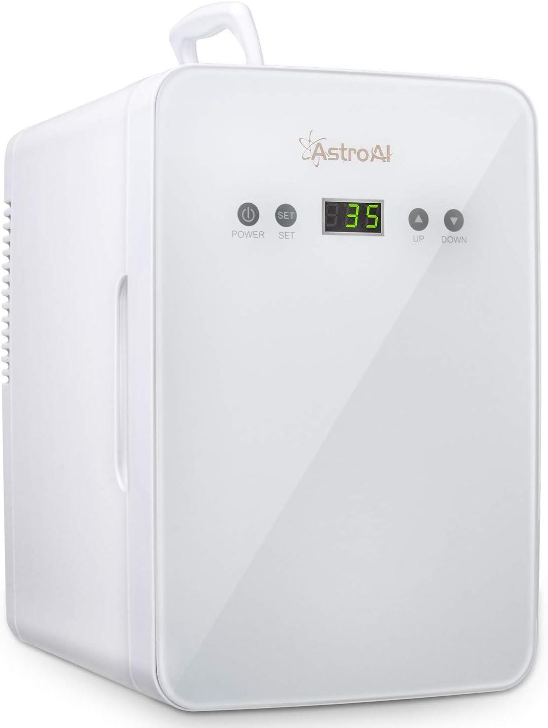 AstroAI 6L Mini Nevera Pequeña Portátil 12 V/220 V para Coche y Casa, Tanto en Frío Como en Calor 0-66°C Enfriamiento y calentamiento (blanco)