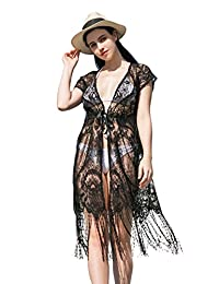 soul young Women's Lace Floral Cover Up,Summer Sexy Long Maxi Beachwear