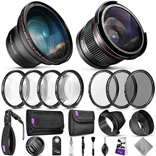 58mm Altura Photo Professional Accessory Kit for Canon EOS Rebel DSLR - Bundle with Wide Angle & Fisheye Lens, Filters Kit (Macro Close-Up Set, UV, CPL, ND4) Remote Control & More from Goja