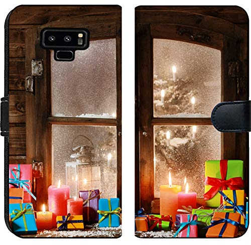 Liili Premium Samsung Galaxy Note9 Flip Micro Fabric Wallet Case Image ID 32444512 Various Colored and Lighted Candles at Vintage Window Pane