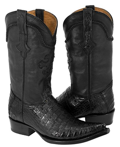 (Cowboy Professional - Men's Black Real Crocodile Belly Skin Leather Cowboy Boots Pointed Toe 10 D(M))
