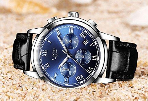 Watch Men Leather Strap Watches Men's Chronograph Waterproof Sport Date Quartz Wrist Watch Blue by LIGE (Image #2)