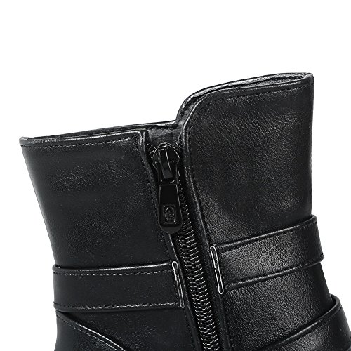 1TO9 Womens Boots Low-Top Zip Ankle-Wrap High-Heels Solid Warm Lining Rubber Waterproof Low-Top Smooth Leather Urethane Urethane Boots MNS02457 Black RhQVEzPBjz