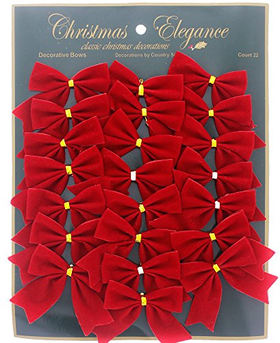 Christmas Holiday Red Velvet Decorative Bows for Table Arrangements, Gift Wrapping, Embellishments, Crafts, Ornaments, 22 Count, Small, 2.5
