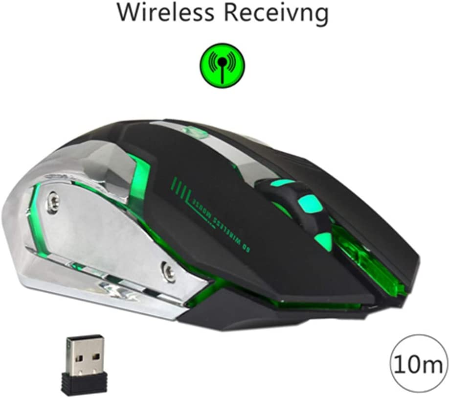 BINGFEI Wireless USB Mouse Portable 2.4GHz Mice LED Backlit Optical 2400DPI Ergonomic Mouse USB Receiver for Gaming DD,Black
