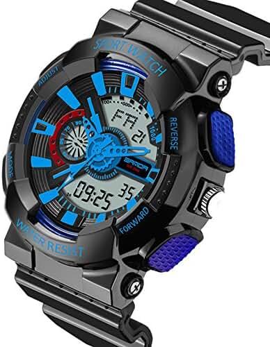 Boys Watch 7-10 Kids Digital Analog Quartz Electronic Alarm Stopwatch Waterproof Watches Black+Blue