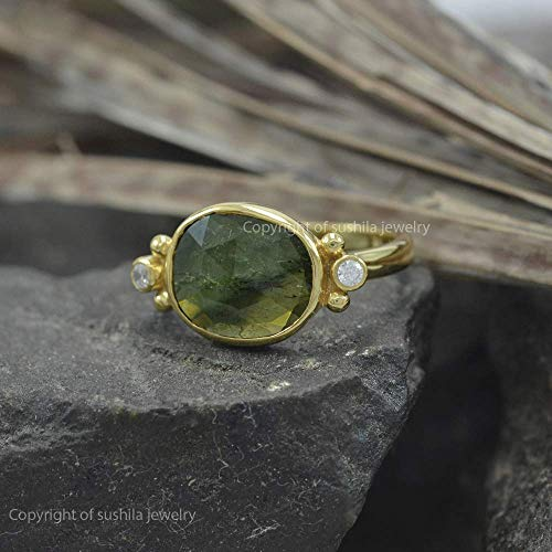 (Genuine 0.84 Ct. Green Tourmaline Gemstone Cocktail Ring Solid 14k Yellow Gold Diamond Pave SI Clarity G Color Jewelry)