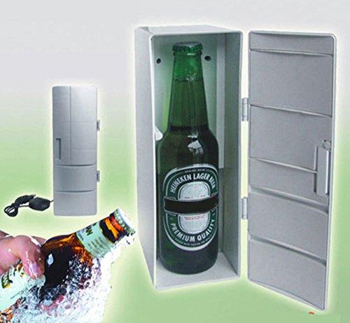 Price comparison product image MaxFox Portable USB Desktop Mini Refrigerator Beverage Cooler Freezer Fridge Small Appliances for Office Home Food Divider Storage (Silver)