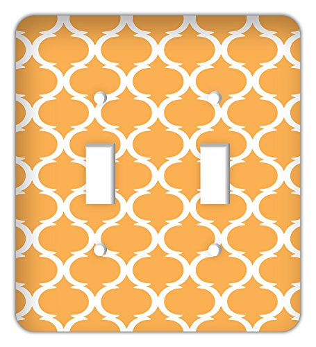 Moroccan Ikat Print Trendy Printed Double Switchplate, Orange ()