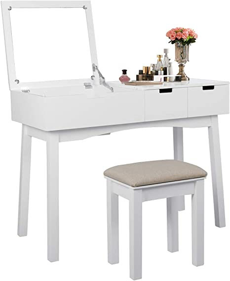 Vanity Table Set With Flip Top Mirror Makeup Dressing Table With Two Drawers And Cushioned Stool Writing Desk Set For Bedroom Easy Assembly Kitchen Dining