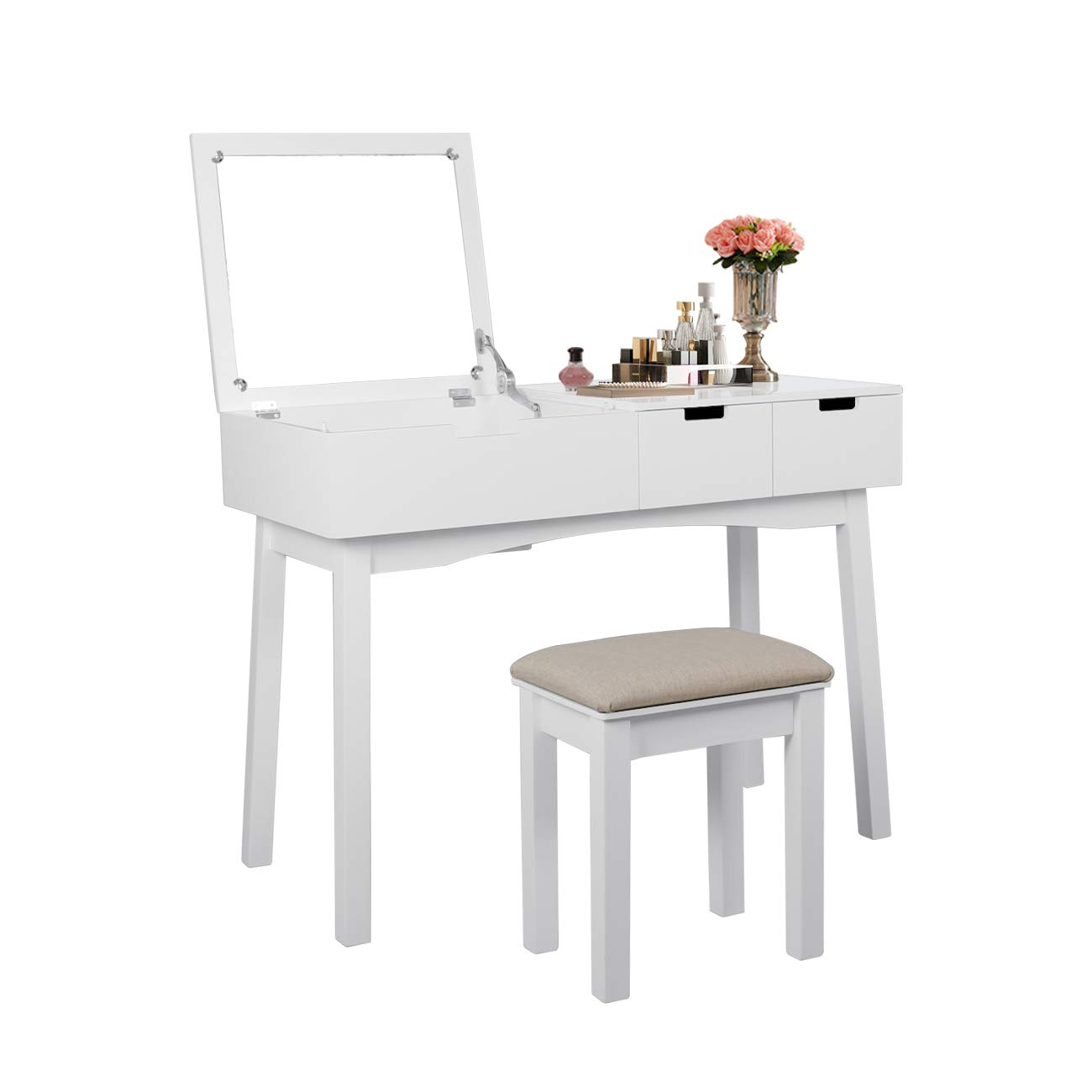 AILEEKISS Vanity Table with Large-Sized Flip Top Mirror Makeup Dressing Table with a Cushion Stool Set Writing Desk with Two Drawers One Small Removable Organizers Easy Assembly