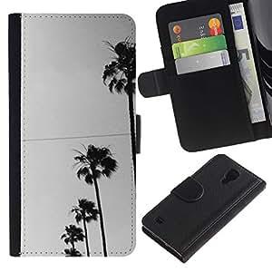 KingStore / Leather Etui en cuir / Samsung Galaxy S4 IV I9500 / Los árboles Fila Sky View Road la calle;