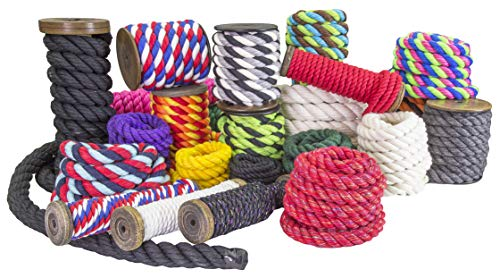 Ravenox Colorful Twisted Cotton Rope   (White)(1 Inch x 250 Feet)   Made in The USA   Custom Color Cordage for Sports, Décor, Pet Toys, Crafts, Macramé & General Use   Rope by The Foot & Diameter by Ravenox (Image #8)