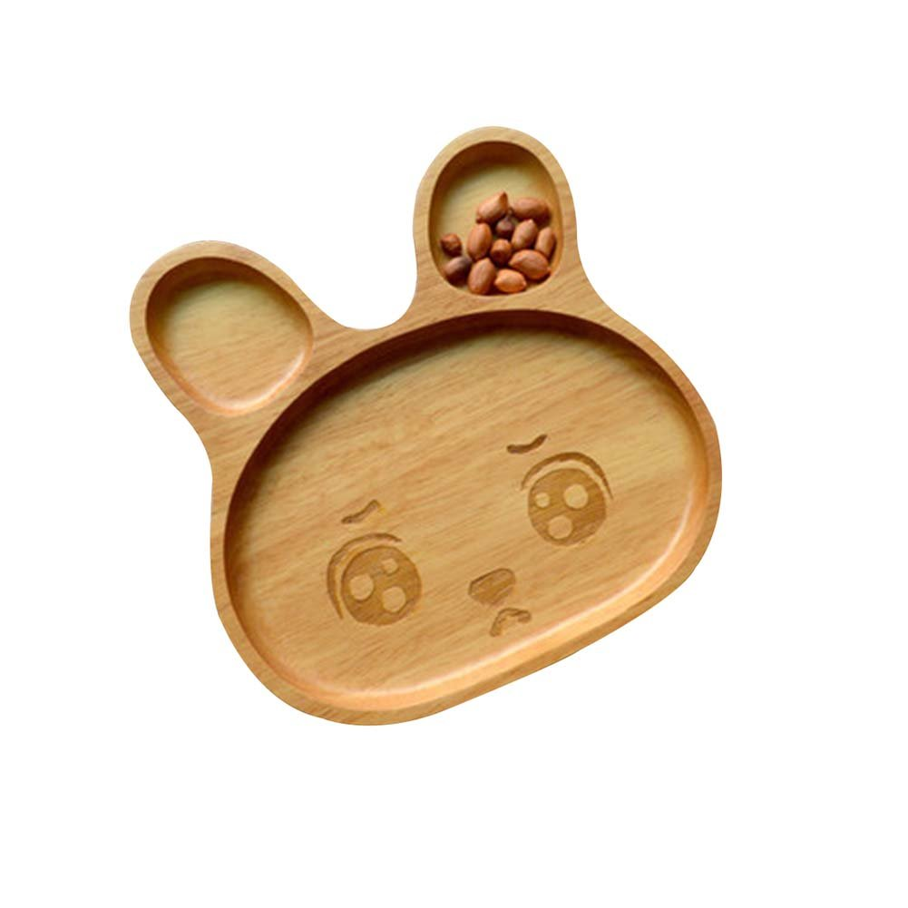 Tray/Baby/Utensils Tableware For Baby Safe Cute Environmental Wooden(Rabbit)