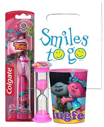 "Dreamworks ""Trolls"" Girls 3pc Bright Smile Oral Hygiene Set! Turbo Spin Toothbrush, Brusing Timer & Mouthwash Rinse Cup! Plus Bonus ""Remember To Brush"" Visual Aid"