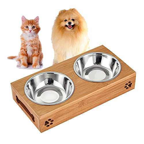 Bamboo Cat Water Bowl (Bamboo Dog Cat Bowls, Raised Stand Pet Food Water Bowl MATIXING Wooden Elevated Pet Bowls Stainless Steel Double Bowl for Small Dogs and Cats)