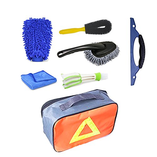 Vehicle Washing Cleaning Kit Tools Car Wash Equipment Six in One Car Wash Mitt Auto Cleaner Duster Vehicle Squeegee Microfiber Rag