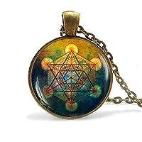 Metatron's Cube Pendant, Sacred Geometry Jewelry, Metatrons Cube, Geometric Necklace, Jewelry for Men