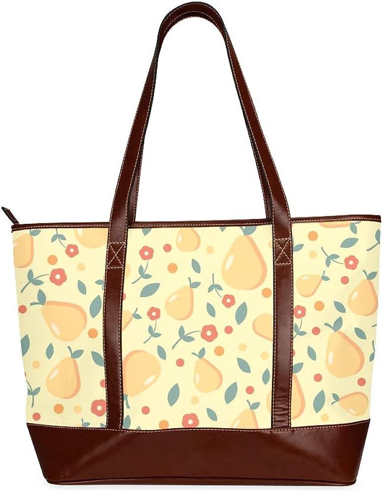 Tote Bags Ripe Pears Red Flowers Travel Totes Bag Fashion Handbags Shopping Zippered Tote For Women Waterproof Handbag