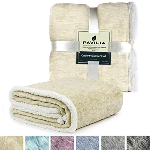 - PAVILIA Premium Beige Sherpa Melange Throw Blanket for Twin Bed, Couch, Sofa Soft, Fluffy, Plush, Warm, Cozy, Lightweight Microfiber, Modern Luxury Reversible TV Blanket (60 x 80 Inches, Latte)