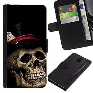 All Phone Most Case / Oferta Especial Cáscara Funda de cuero Monedero Cubierta de proteccion Caso / Wallet Case for Samsung Galaxy Note 3 III // Top Hat Poker Cards Halloween Metal Music
