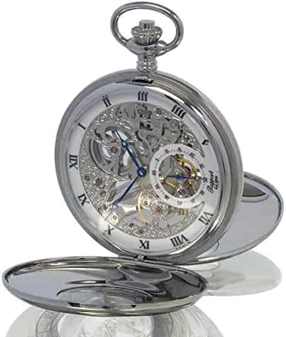 Rapport of London Silver Tone (Chrome) Demi Hunter Pocket Watch with 17 Jewel Movement