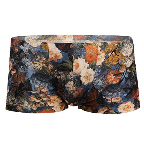 YiZYiF Men's Vintage Floral Print Boxer Briefs Low Rise Sexy Panties Underwear Blue Medium - Blue Vintage Underwear