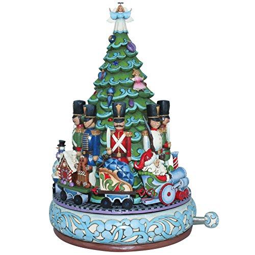 Enesco Gift Jim Shore Santa in Train by Tree Collectible Musical Figurine - Santa Wind Up Musical Figurine