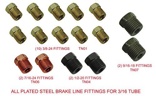 Brake Line Fittings Set For 3/16 Tube Inverted Flares Tube Nuts Kit 45 Flare SAE (L-3-2) ()