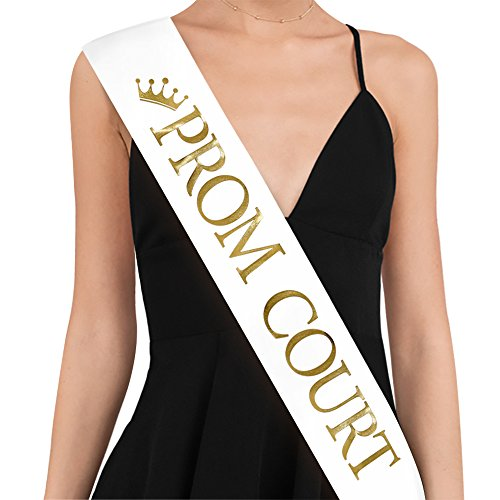 PROM COURT Sash - School Dance Graduation Party School Party Accessories, White with Gold Print - Prom Court Sashes