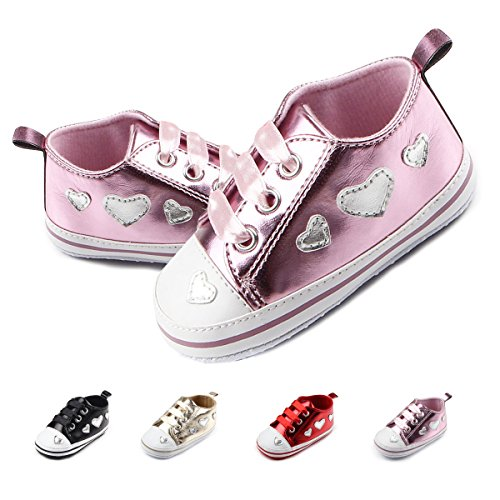Pink First Walkers (Antheron Baby Shoes - Infant Boys Girls Anti-Slip Sneakers Soft Sole Toddler First Walker Crib Shoes(Pink,6-12 Months))