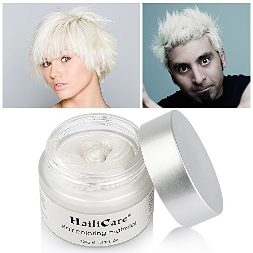 HailiCare White Hair Wax 4.23 oz, Professional Hair Pomades, Natural White Matte Hairstyle Max for Men Women, New Glass Jar ()
