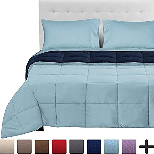 5 Piece Comforter - 5-Piece Reversible Bed-In-A-Bag - Full XL (Comforter: Dark Blue / Light Blue, Sheet Set: Light Blue)