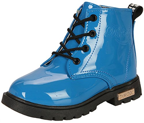 PPXID Boy's Girl's Waterproof Lace-Up Boots(Baby boy/Baby Girl/Toddler/Little Kid/Big Kid)-Blue 8 US Size ()