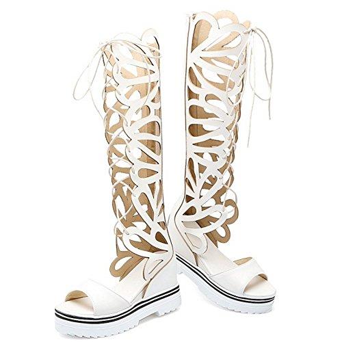 RAZAMAZA Mujer Moda Cordones Sandalias Tacon de Cuna Elevator Interior Verano Botas Cremallera Blanco