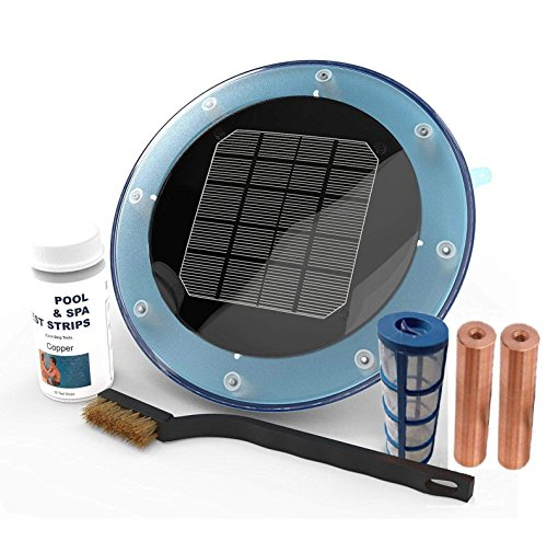 Blue Sea Solar Pool Ionizer Kills Algae Year Round Using 85% Less Chlorine • Save $300 to $500 per year in chemicals • Helps Reduce Eye Irritation • 30 Day