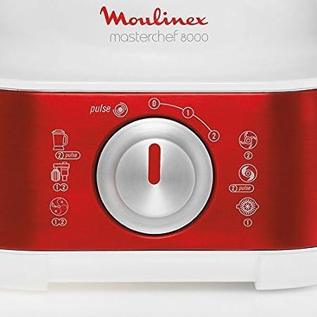 Moulinex Masterchef 8000 1000W 3L Rojo, Color blanco - Robot de cocina (3 L, Rojo, Blanco, Giratorio, 1,5 L, Vidrio, Acero inoxidable): Amazon.es: Hogar