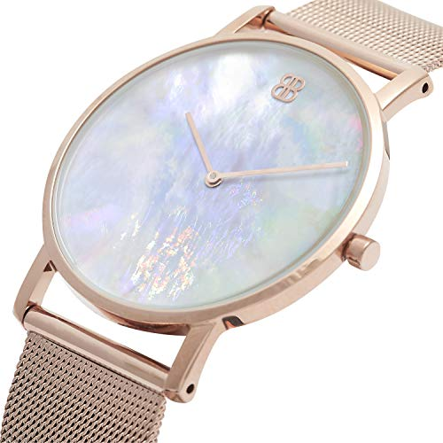 (Byron Bond Mark 1 - Luxury 38mm Wrist Watches for Women & Men (Clerkenwell - Rose Gold Case with White Mother of Pearl Dial and Rose Gold Mesh Strap) )