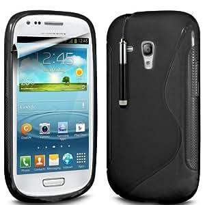 (Negro) Samsung i8190 S10 Mini Protector línea de fundas de silicona Onda piel cubierta retráctil Capacative Pantalla Táctil Lápiz Óptico & Paquete de 10 Pantalla LCD Protector de Spyrox