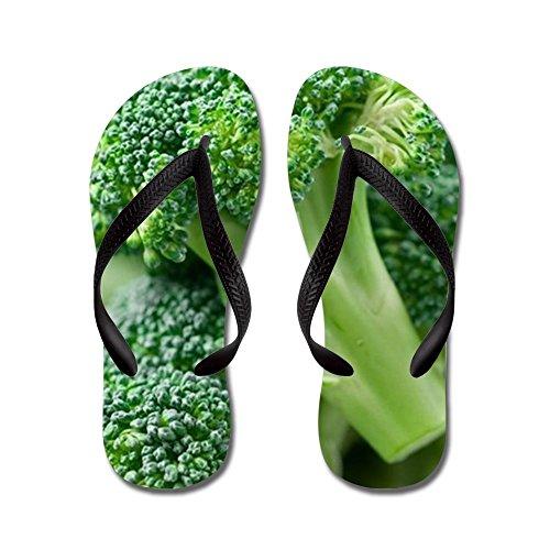 Cafepress Broccoli - Flip Flops, Roliga Rem Sandaler, Strand Sandaler Svart