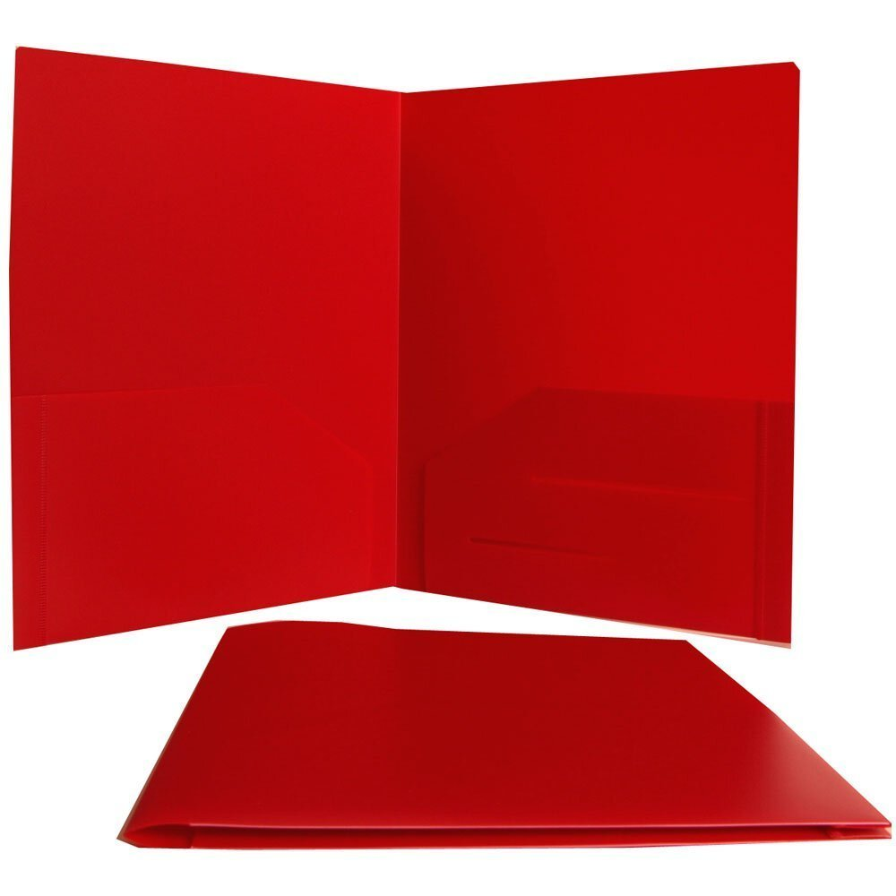 Generic Red Heavy Duty Plastic 2 Pocket Presentation School Folder