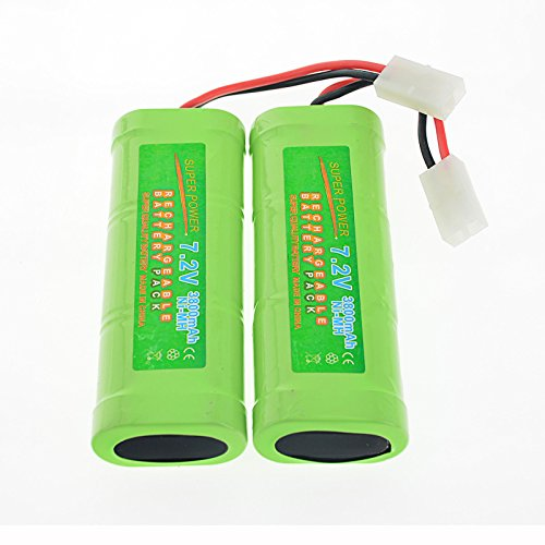 Simply Silver - Rechargeable Battery - 2 pcs 7.2V 3800mAh Ni-Mh rechargeable battery pack RC Tamiya Plug + Charger USA