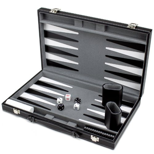 Brybelly Deluxe 15-Inch Backgammon Set with Stitched Black Leatherette Case