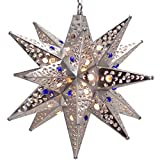 Moravian Star Light, Flower Pierced Tin, Silver with Marbles, 15''
