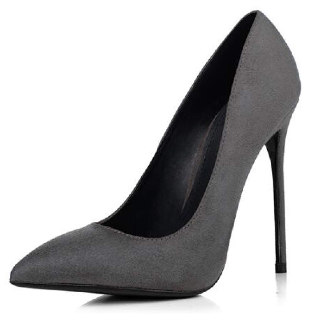 QSCG Damen Heels Scrub Wildleder Grau High Heels Damen Sexy Pumps Stiletto Spitz Damen Court Schuhe Work Party 592cf4