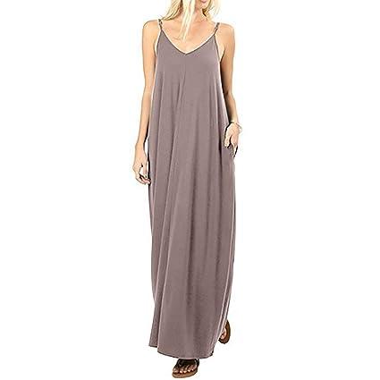 Vestidos Verano Mujer SUNNSEAN Faldas Color Liso Casual Comodo ...