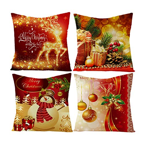 4PCS Christmas Throw Pillow Covers - Red Christmas Decorative Printing Cotton Covers Square 18x18 inch for Sofa Bed Couch (Covers Bed Red)